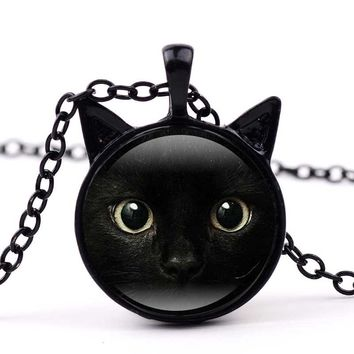 GAXIU Fashion Jewelry Accessary Vintage Black Cat Face Time Gems Pendant Cabochon Tibetan Silver Glass Long Chain Necklace