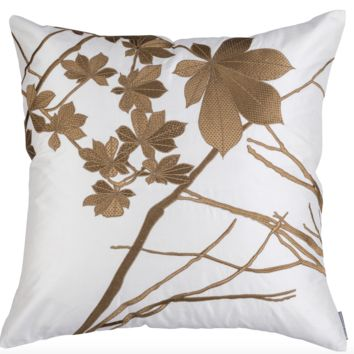 Leaf Ivory Silk with Gold Square Pillow by Lili Alessandra