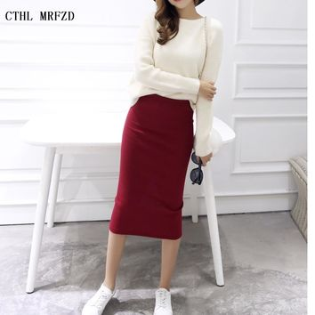 2018 spring Autumn And Winter package hip skirt slit skirts women step skirt stretch Slim thin female waist skirts Long skirts