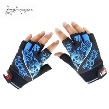 Half Finger Sports Gloves Cool Skull Pattern Gloves Cycling