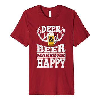 Deer And Beer Makes Me Happy Funny Hunting Drinking T-Shirt