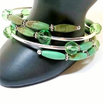 Green memory wire wrap bracelet.