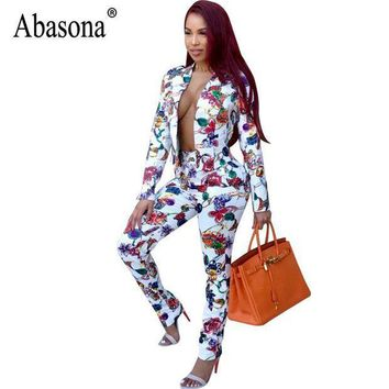 PEAPUNT Abasona Printed Women Jumpsuits Autumn Long Sleeve Two Piece Outfits Office Ladies Casual Wear Jumpsuit Female Party Overalls