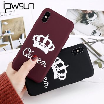 Cool iPWSOO For iPhone 6 6s 7 8 Plus X Phone Case Cartoon Letter KING QUEEN Crown Soft TPU Silicon Phone Case For iPhone 7 Back CoverAT_93_12