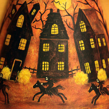 Halloween Decoration Folk Art Hand Painted Night Light - MADE TO ORDER -Three Ghost Riders on Horses, Haunted Houses, Full Moon, Spooky Tree