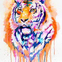 Original Watercolour Painting-Tiger  ,  animal, illustration, animal watercolor, animals paintings, animals, portrait,