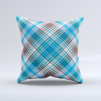 Gray & Bright Blue Plaid Layered Pattern V5  Ink-Fuzed Decorative Throw Pillow