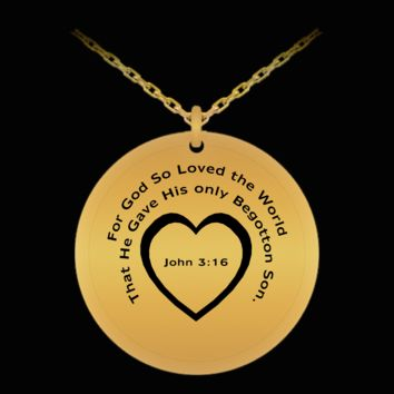 God So Loved the World John 3:16 Inspirational Mother's Day Gift Necklace