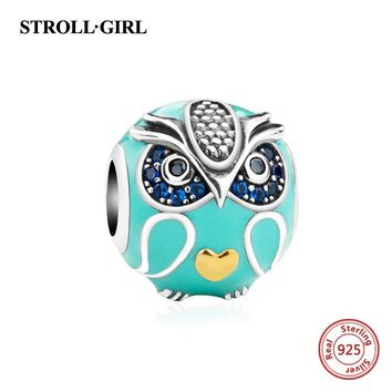 New arrival silver 925 beads cute animal owl charms with enamel and CZ Fit Original pandora bracelets diy jewelry making gifts