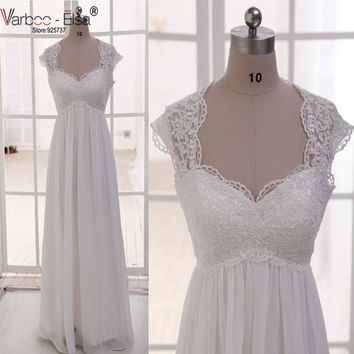 Vintage Wedding Dress Beach Chiffon A Line Empire Waist Boho Wedding Lace Straps Maternity Wedding Dress Plus Size Robe Mariage