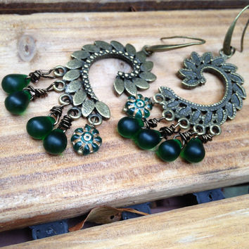Large  Green Chandelier Earrings, Bronze Dangle earrings Large Boho Dangles, Gypsy Jewelry