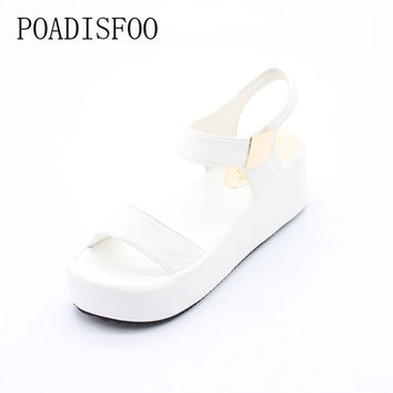 2017 Summer New Korean Version Of The high-heeled Wedge Heel Slippers Black Sandals Roman flat-bottomed Shoes .HYKL-K8