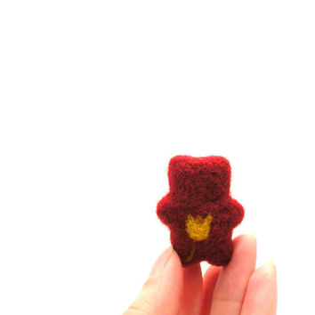 Needle felted red and yellow Mini Bear brooch - spring and summer fashion - miniature jewelry