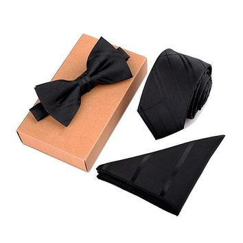 Boston Blackie  3 Piece Tie + Bow Tie + Pocket Square Set
