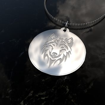 Wolf Guide Me - sterling silver pendant necklace