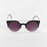 Square Frame Brow Bar Round Sunglasses