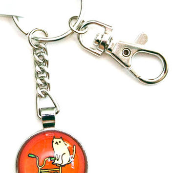 Cat Bike Keychain