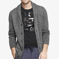 ACID WASH SHAWL COLLAR CARDIGAN from EXPRESS