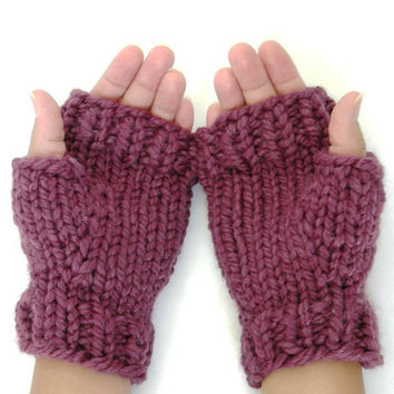 Wool Mitts Chunky Hand Knit Custom Colors by WindyCityKnits