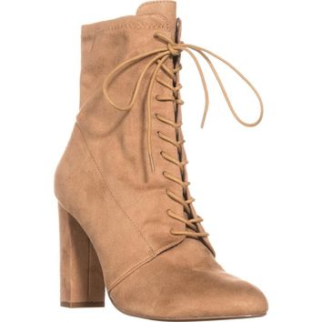 Steve Madden Elley High Top Lace Up Ankle Boots, Camel, 8.5 US