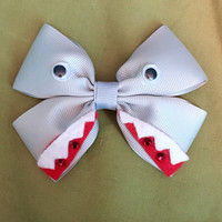 Jaws Shark Character Inspired Grey Hair Bow