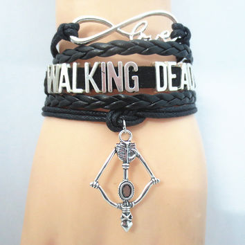 Infinity Love WALKING DEAD Bracelet black Customize Wristband friendship