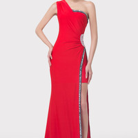 Red One Shoulder Embroidered Side Slit Mermaid Evening Dress