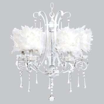Jubilee Collection 75802-2477 Colleen White Five-Light Chandelier with White Feather Drum Shades