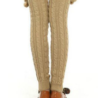 Khaki Fluffy Ball Side Knitted Long Leg Warmers