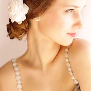 Bridal Rose Hair clip - Bridal Flower - Wedding Hair Accessories - Bridal Hair Piece - White, Ivory
