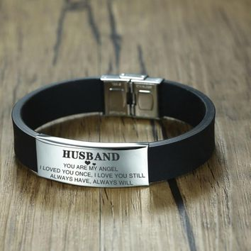 Vnox Custom TO HUSBAND Bracelets for Men Black Silicone Wrist Band with Stainless Steel Tag Valentine's Day Gift for Him