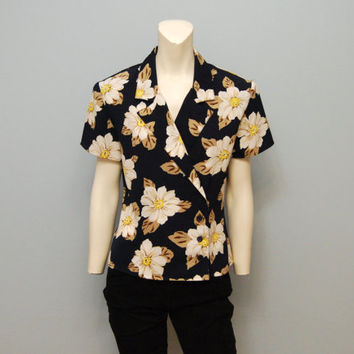 Vintage Blouse Size 6 1990's Top Wrap Style Shirt Flower Patterned Navy Blue and White Floral Print Top Shoulder Pads 90's Women's Shirt