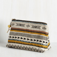 Boho Crosshatch a Plan Makeup Bag by ModCloth