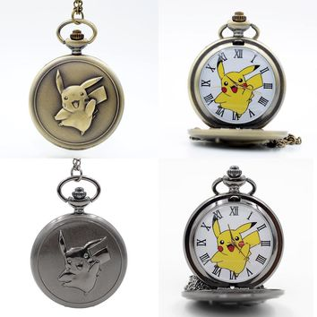 Fashion Pikachu Game Boy  Pocket Monsters Quartz Pocket Watch Analog Pendant Necklace Men Women Watches Chain Boy GiftKawaii Pokemon go  AT_89_9