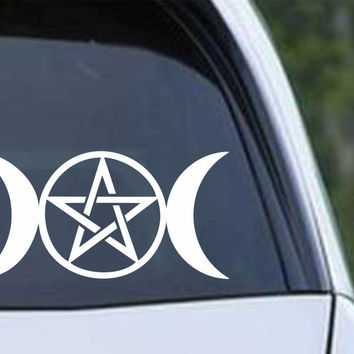 Wiccan Triple Moon Die Cut Vinyl Decal Sticker