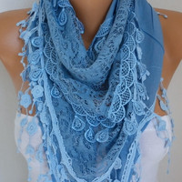 Blue Scarf Mother's Day Gift  Spring Summer Embroidered Floral Scarf Cotton Scarf Cowl Gift Ideas For Her Women Fashion Accessories