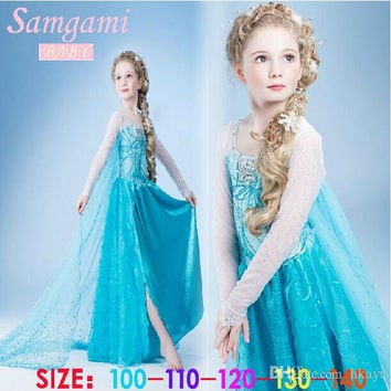 Frozen elsa anna 2014 Children Christmas Baby Girl Princess long Sleeve party Birthday lace Tutu Sequins Dresses 5pcs/Lot.