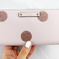 Kate Spade Haven Lane Stacy Bifold Wallet Pink Polka Dot Glitter