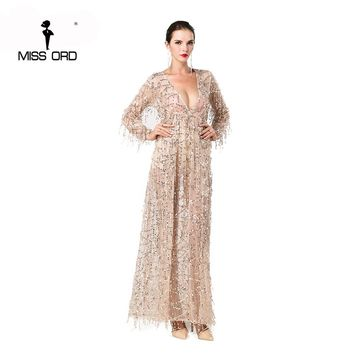 Sexy long sleeve deep V two split sequin maxi dress