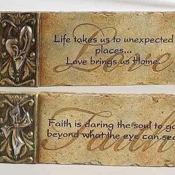 "6 Wall Plaques -  "" Love ""  And  "" Faith """