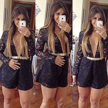 CREYUG3 Women Long Sleeve Black Lace Jumpsuit Romper NYE Clubbing New Year Ladies Vestidos ***USA SELLERS*** = 1945670084