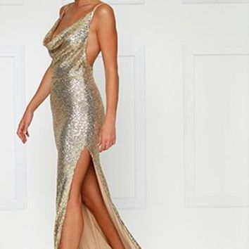 City Sparkler Gold Sequin Spaghetti Strap Sleeveless Cowl Neck Backless Side Slit Maxi Dress Gown