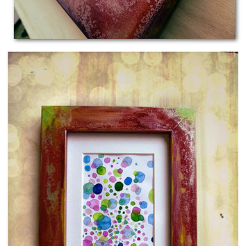 Framed abstract watercolor painting, original artwork on acid free paper, 5.90 x 7.08 inches, framed art