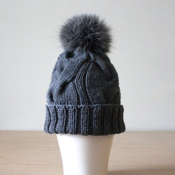 Gray cashmere hat with fur pom pom, Cable knit hat,  Braided cables beanie, Fur pom pom, Bobble hat,  Recycled fur, Detachable pom pom