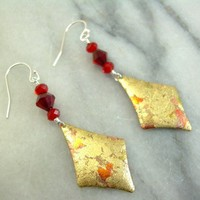 Gold, Copper and Red Dangle Earrings
