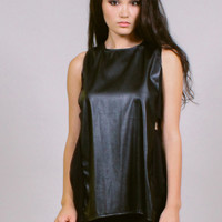 Twisted - Faux leather tunic with side twist cut-outs