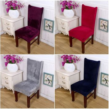 Stretch Fox Velvet Fabric Dining Room Wedding Kitchen Home Chair Seat Covers