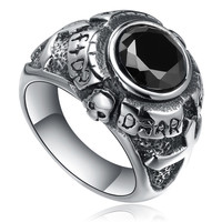 Stainless Steel Cross and Skull W. Black Cubic Zirconia Ring