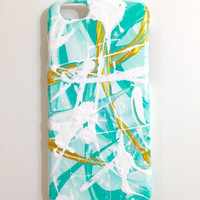 iPhone 6 Case Mint Painted Abstract Cellphone accessories hard plastic Teal White Gold