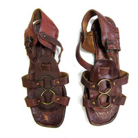 Vintage 70s Gladiator Sandals Italian Leather Strappy Flats Boho Hippie Italy Sandals DELLS Dark Brown Buckled Sandals Shoes Womens 5.5